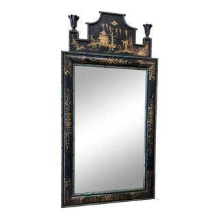 Antique Chinoiserie Hand Painted Pagoda Mirror