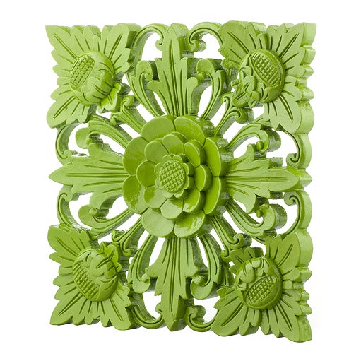 Retro Green Floral Wall Square, Large - Image 2 of 5