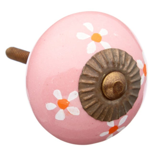 Pink Floral Knobs- Set of 6 - Image 1 of 3