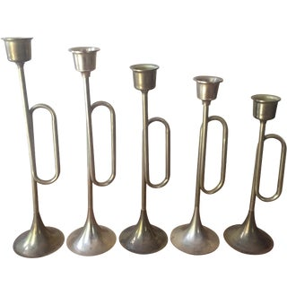 Brass Plated Bugle Candleholders - Set of 5