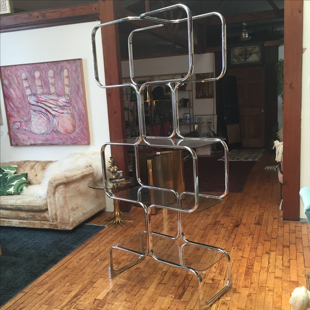 Italian Chromed Steel Etagere by Tricom - Image 3 of 5
