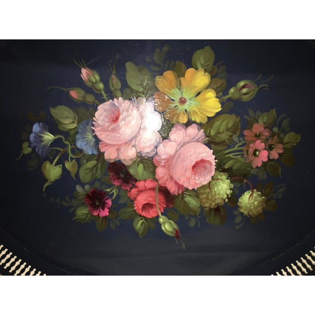 French Hand Painted Toleware Tray With Roses C.1950 - Image 3 of 8