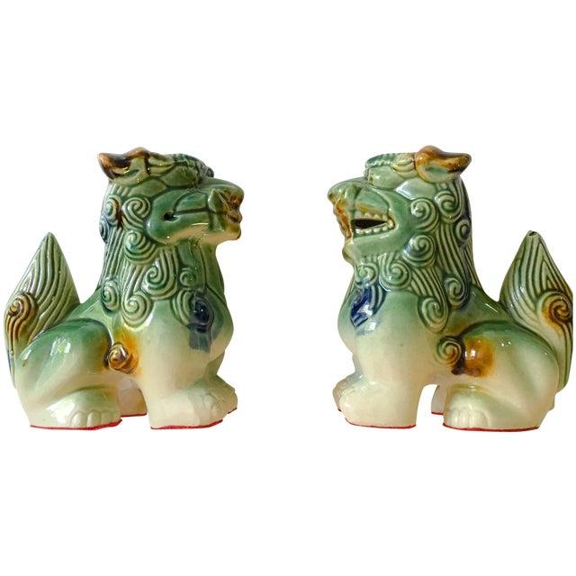 Ceramic Foo Dog Figurines - Pair - Image 1 of 10