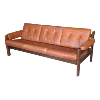 1970's Rosewood and Leather Danish Modern Sofa