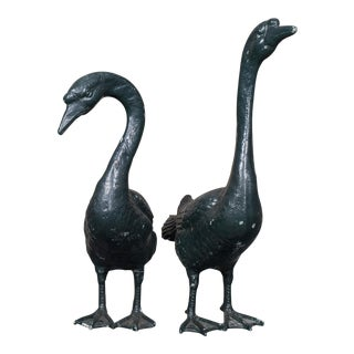 Pair of Vintage English Zinc Garden Geese circa 1940