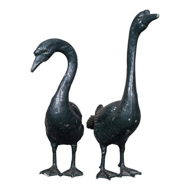 Pair of Vintage English Zinc Garden Geese circa 1940 - Image 1 of 10