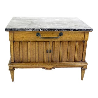Mid-Century Marble Top Walnut Cabinet