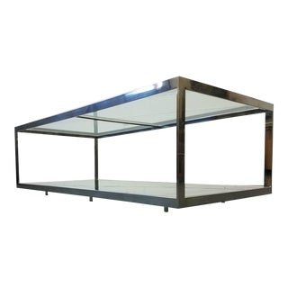 Monumental 2 Tier Chrome and Glass Mid Century Coffee Table