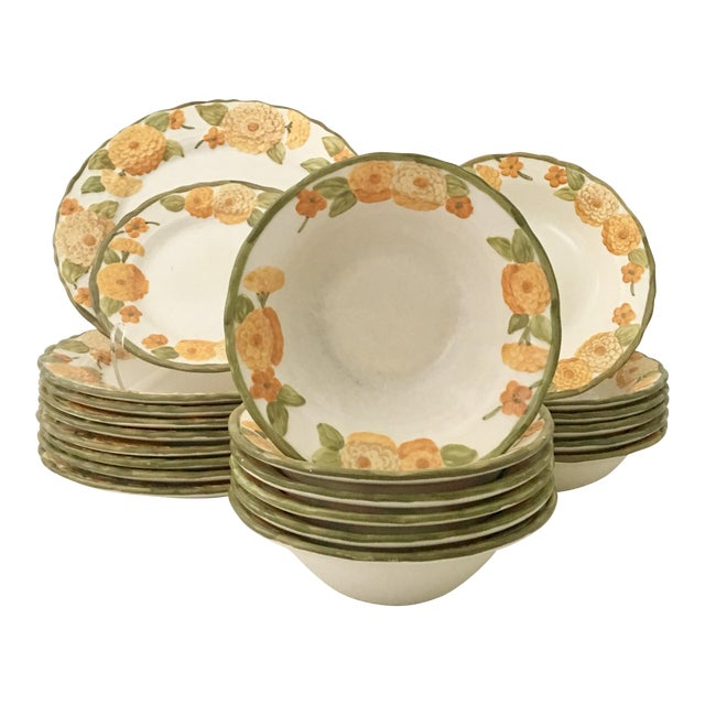 "1960s Ceramic Metlox ""Zinnia"" Dinnerware - Set of 22 - Image 1 of 7"