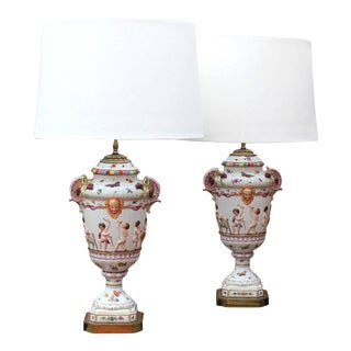 Italian Capo DI Monte Table Lamps - A Pair