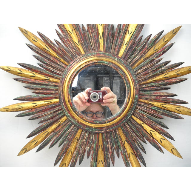 French Carved Wood Starburst Mirror - Image 5 of 8