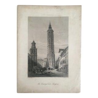 "Antique 1875 Original Spanish Engraving Art Print "" Leaning Tower Saragossa """