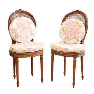 Vintage French Shabby Chic Cane Chairs - A Pair