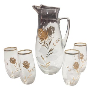 Vintage Gold Encrusted Glass Pitcher & 4 Glasses