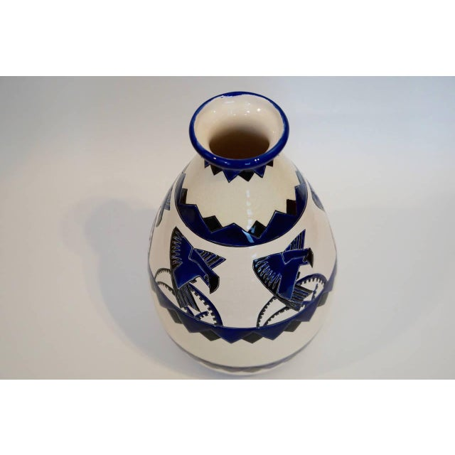 Rare Cobalt and Cream Charles Catteau Vase - Image 2 of 8