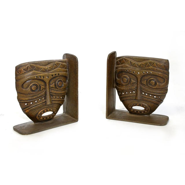 Cast Bronze Tiki Mask Bookends - Image 1 of 4