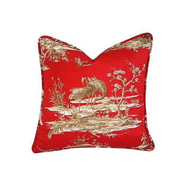 Designer Shanghai Crane Toile Pillows - Pair - Image 3 of 8