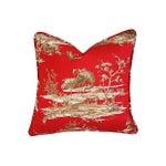 Image of Designer Shanghai Crane Toile Pillows - Pair