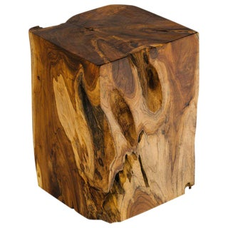 Organic Indonesian Teak Wood Side Table