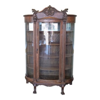 1890s Antique Carved Quartered Oak Victorian Curved Glass Curio Display Cabinet