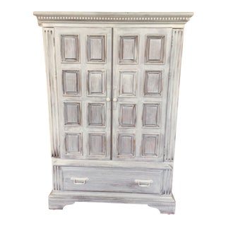 Distressed White Armoire