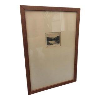 Framed Sketch of Fly Fisher
