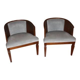 Morganton Barrel Cane Chairs - A Pair