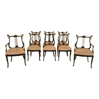 Black Lacquer & Silver Dining Chairs - Set of 8