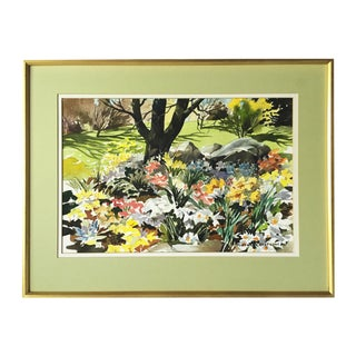 Floral Landscape Watercolor by Nystrum