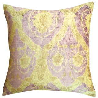 Yellow Patterned Velvet Pillow Cover