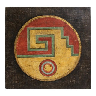 Antique Navajo Inspired Fresco Painting by Jacques Lamy