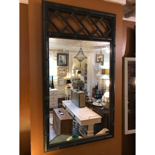 Mid-Century Black Bamboo Mirror - Image 4 of 7