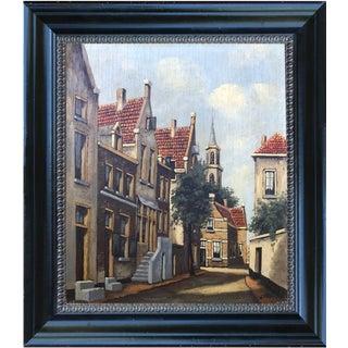 Vintage Dutch Street Scene Oil on Panel Painting