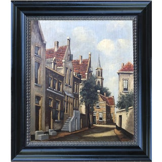 Vintage Dutch Street Scene Oil on Panel Painting