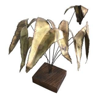 Brutalist Torched Brass Flower Sculpture