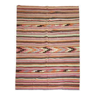 "Vintage Turkish Striped Kilim - 6'11"" x 10'2"""