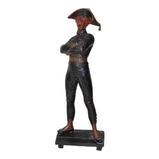 Antique Painted Bronze Harlequin Sculpture