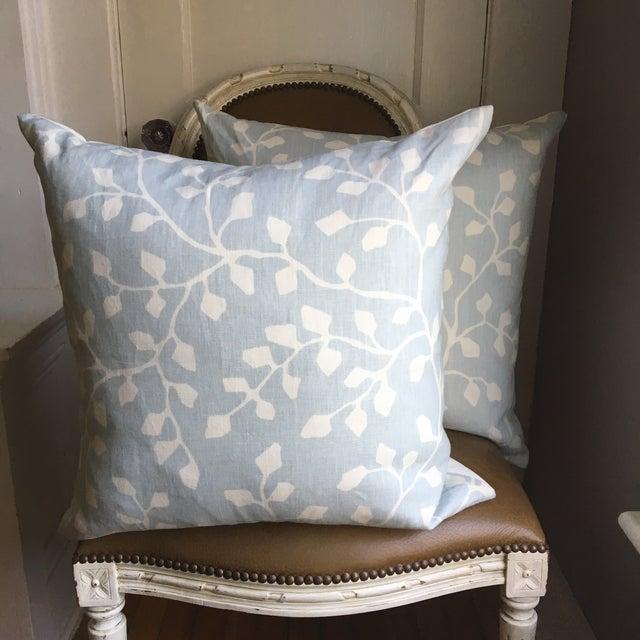 Powder Blue Linen Pillows - A Pair - Image 2 of 4