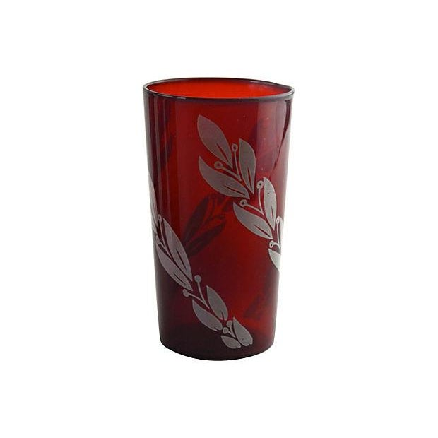 Image of Mid-Century Crimson Tumblers - Set of 4