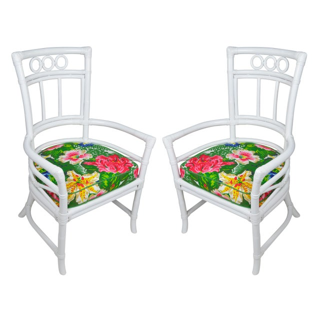 Ficks Reed Colony White Rattan Armchairs - a Pair - Image 7 of 7