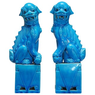 Chinese Turquoise Glazed Foo Dogs - A Pair