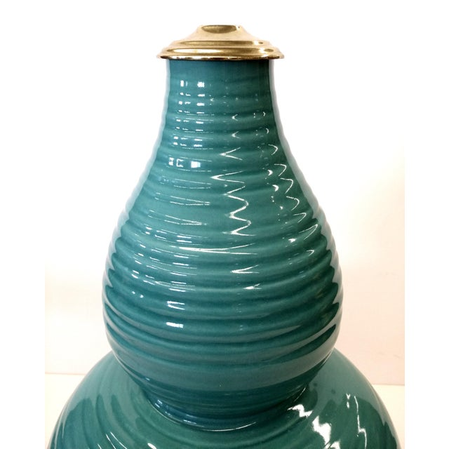 Transitional Turquoise Ribbed Custom Lamp Base - Image 10 of 11