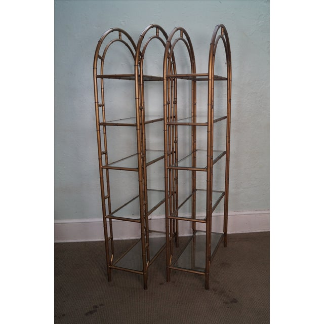 Italian Gold Gilt Iron And Glass Faux Bamboo Metal Square: Hollywood Regency Gilt Metal Faux Bamboo Etageres
