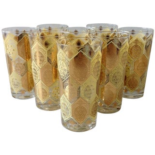 Mid-Century Gold Pineapple Tumblers - Set of 8