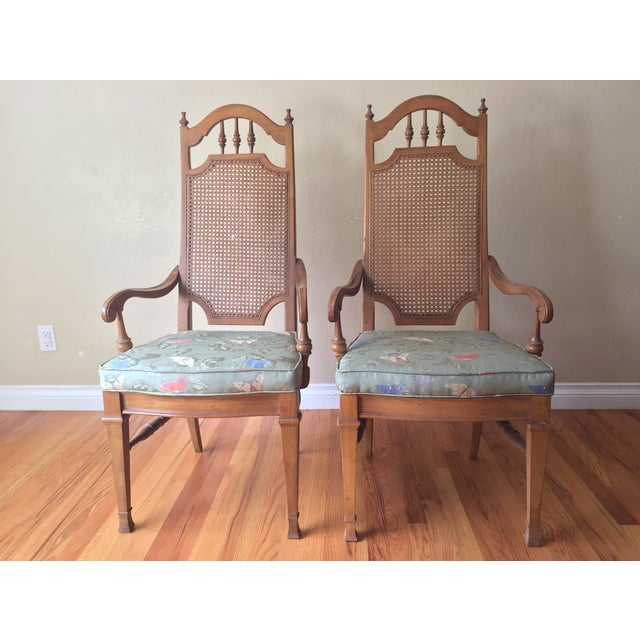 Spanish Revival Cane Back Dining Chairs - Set of 6 - Image 4 of 11