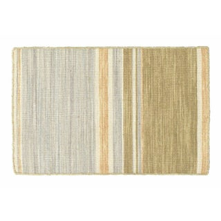 Gray, Blue & Brown Striped Dhurrie - 2' x 3'