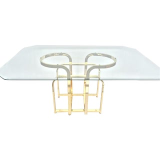 Glam Sculptural Glass & Brass Dining Table
