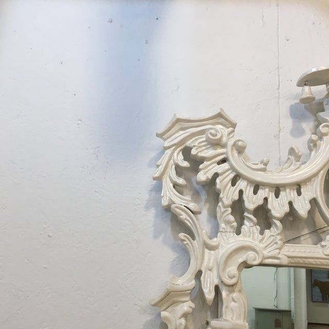 White Lacquered Labarge Pagoda Mirror - Image 6 of 7