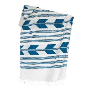 Blue & White Handwoven Chevron Rug - 2′6″ × 5′