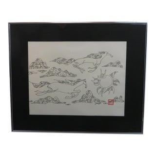 Tiefeng Jiang Horses Running Original Drawing Black on White, 1988
